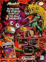 Advert for Abadox: The Deadly Inner War on the Nintendo NES.