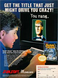 Advert for Fester's Quest on the Nintendo NES.