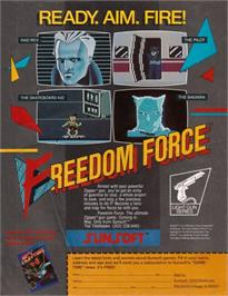 Advert for Freedom Force on the Nintendo NES.