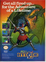 Advert for Hydlide on the Nintendo NES.