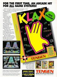 Advert for Klax on the Nintendo NES.