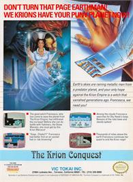 Advert for Krion Conquest on the Nintendo NES.