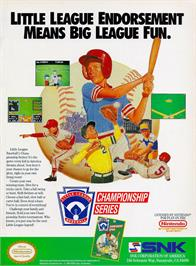 Advert for Little League Baseball Championship Series on the Nintendo NES.