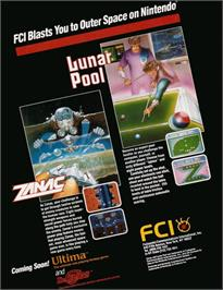 Advert for Lunar Pool on the Nintendo NES.