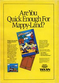 Advert for Mappy Land on the Nintendo NES.