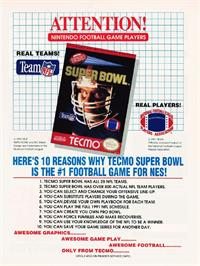 Advert for Tecmo Super Bowl on the Nintendo NES.