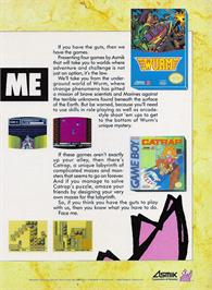 Advert for Wurm: Journey to the Center of the Earth on the Nintendo NES.