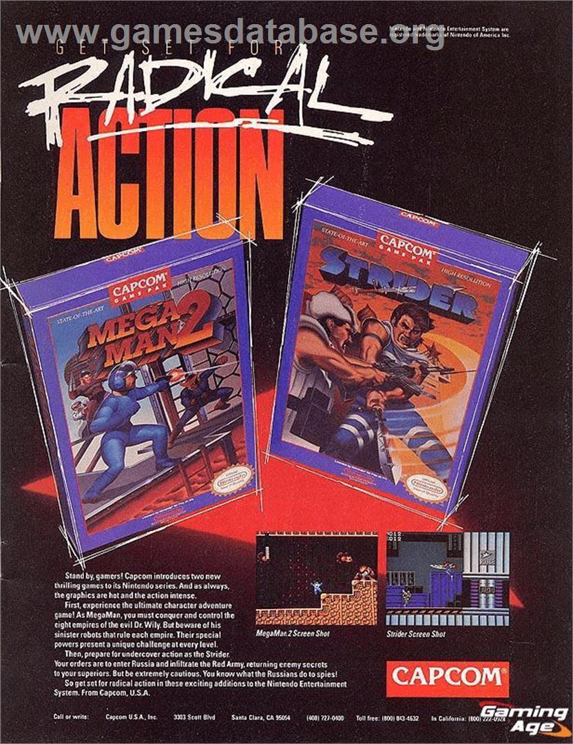 Advert for Mega Man 2 on the Nintendo NES.