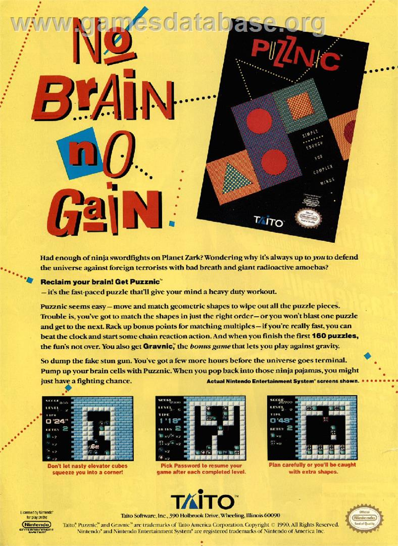 Advert for Puzznic on the Commodore Amiga.