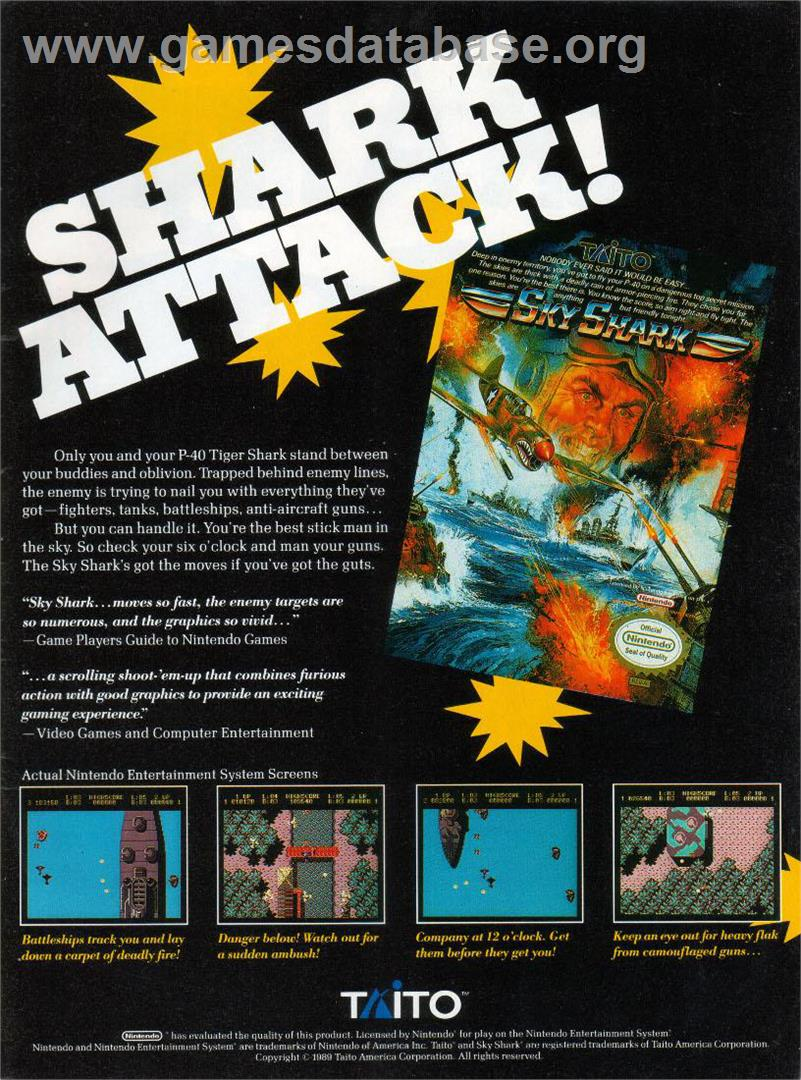 Sky Shark - Nintendo NES - Artwork - Advert