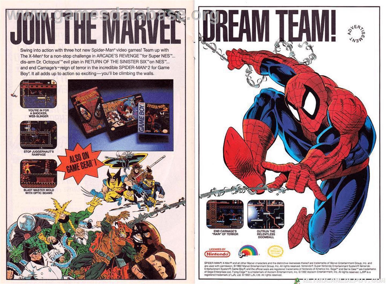 Advert for Spider-Man: Return of the Sinister Six on the Sega Master