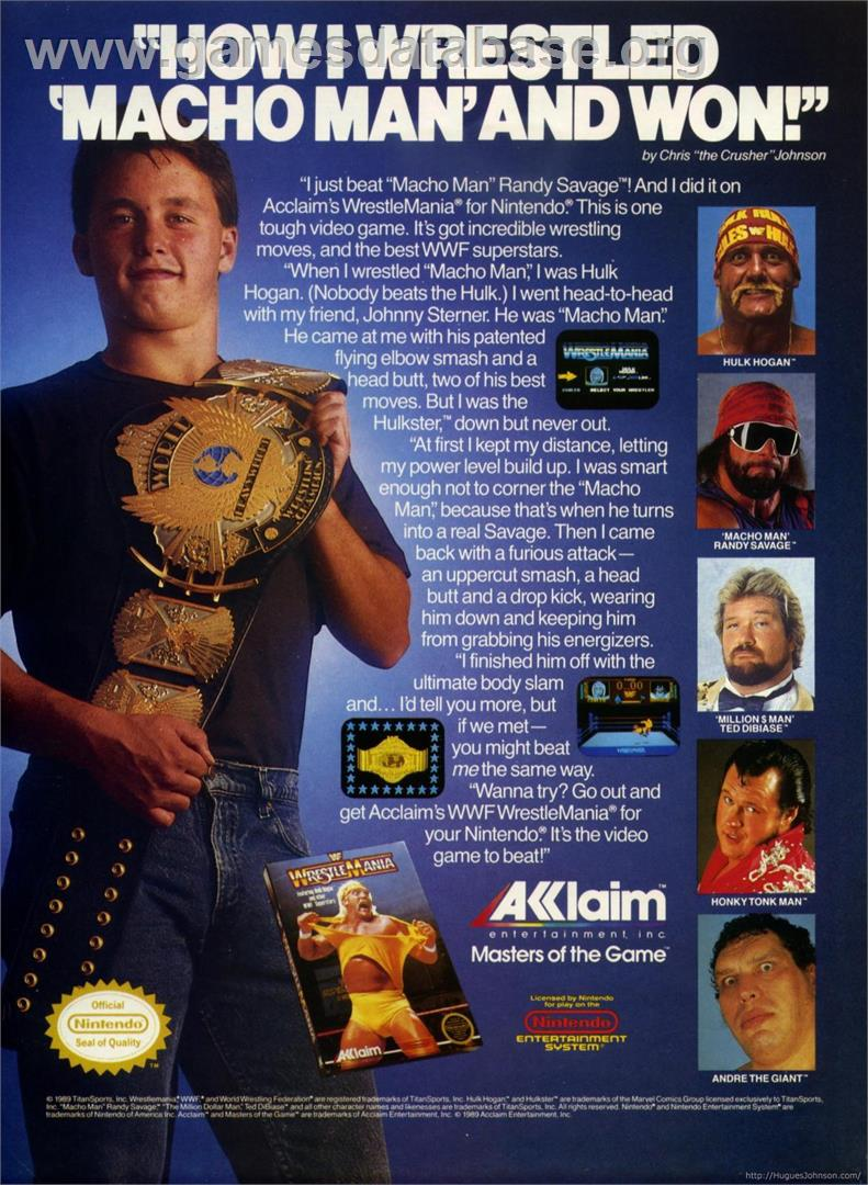 Advert for WWF Wrestlemania: Steel Cage Challenge on the Sega Game