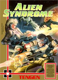 Box cover for Alien Syndrome on the Nintendo NES.