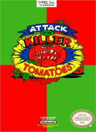 Box cover for Attack of the Killer Tomatoes on the Nintendo NES.
