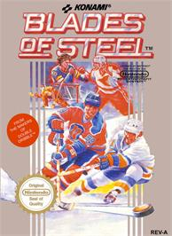 Box cover for Blades of Steel on the Nintendo NES.