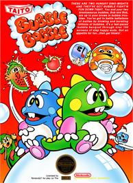 Box cover for Bubble Bobble on the Nintendo NES.