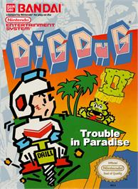 Box cover for Dig Dug II on the Nintendo NES.