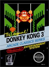 Box cover for Donkey Kong 3 on the Nintendo NES.