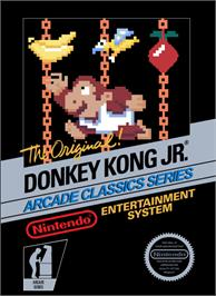 Box cover for Donkey Kong Junior on the Nintendo NES.