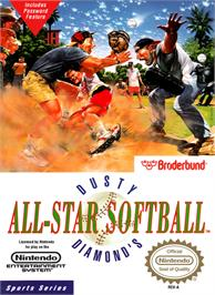 Box cover for Dusty Diamond's All-Star Softball on the Nintendo NES.