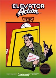 Box cover for Elevator Action on the Nintendo NES.