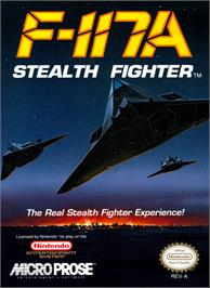 Box cover for F-117A Stealth Fighter on the Nintendo NES.