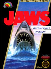 Box cover for Jaws on the Nintendo NES.
