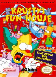 Box cover for Krusty's Fun House on the Nintendo NES.
