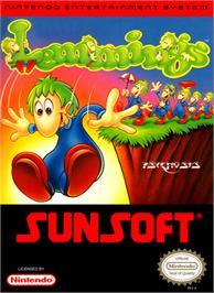 Box cover for Lemmings on the Nintendo NES.