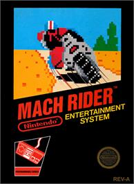 Box cover for Mach Rider on the Nintendo NES.