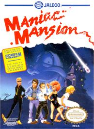 Box cover for Maniac Mansion on the Nintendo NES.