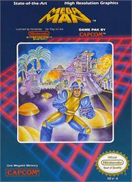 Box cover for Mega Man on the Nintendo NES.