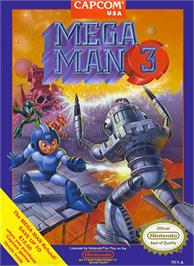 Box cover for Mega Man III on the Nintendo NES.