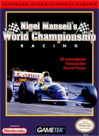 Box cover for Nigel Mansell's World Championship on the Nintendo NES.