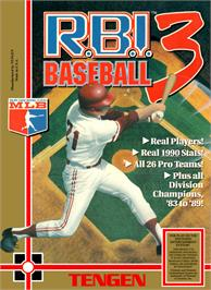 Box cover for RBI Baseball 3 on the Nintendo NES.