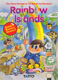 Box cover for Rainbow Islands on the Nintendo NES.