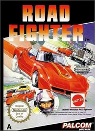 Box cover for Road Fighter on the Nintendo NES.