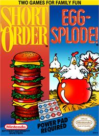 Box cover for Short Order & Eggsplode on the Nintendo NES.