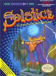 Box cover for Solstice: The Quest for the Staff of Demnos on the Nintendo NES.