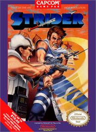 Box cover for Strider on the Nintendo NES.