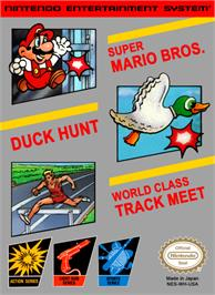 Box cover for Super Mario Bros, Duck Hunt, & World Class Track Meet on the Nintendo NES.