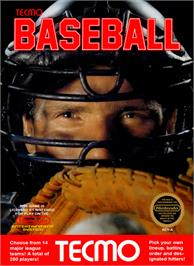 Box cover for Tecmo Baseball on the Nintendo NES.