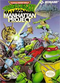Box cover for Teenage Mutant Ninja Turtles 3: The Manhattan Project on the Nintendo NES.
