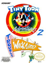 Box cover for Tiny Toon Adventures 2: Trouble in Wackyland on the Nintendo NES.
