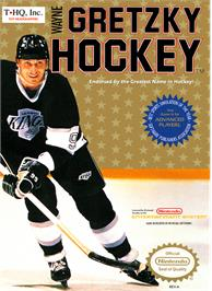 Box cover for Wayne Gretzky Hockey on the Nintendo NES.