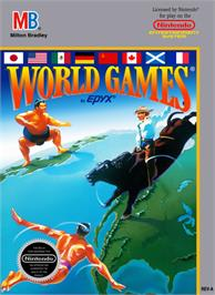 Box cover for World Games on the Nintendo NES.
