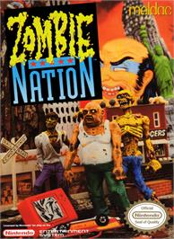 Box cover for Zombie Nation on the Nintendo NES.
