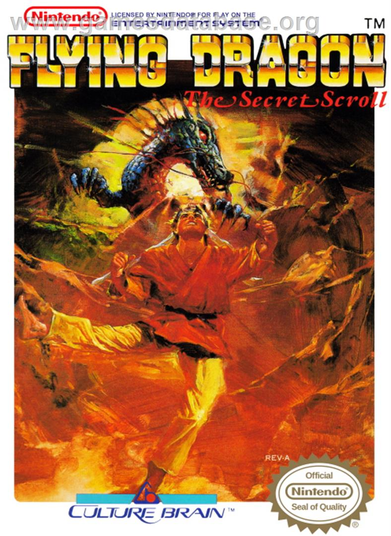 Box cover for Flying Dragon: The Secret Scroll on the Nintendo NES.