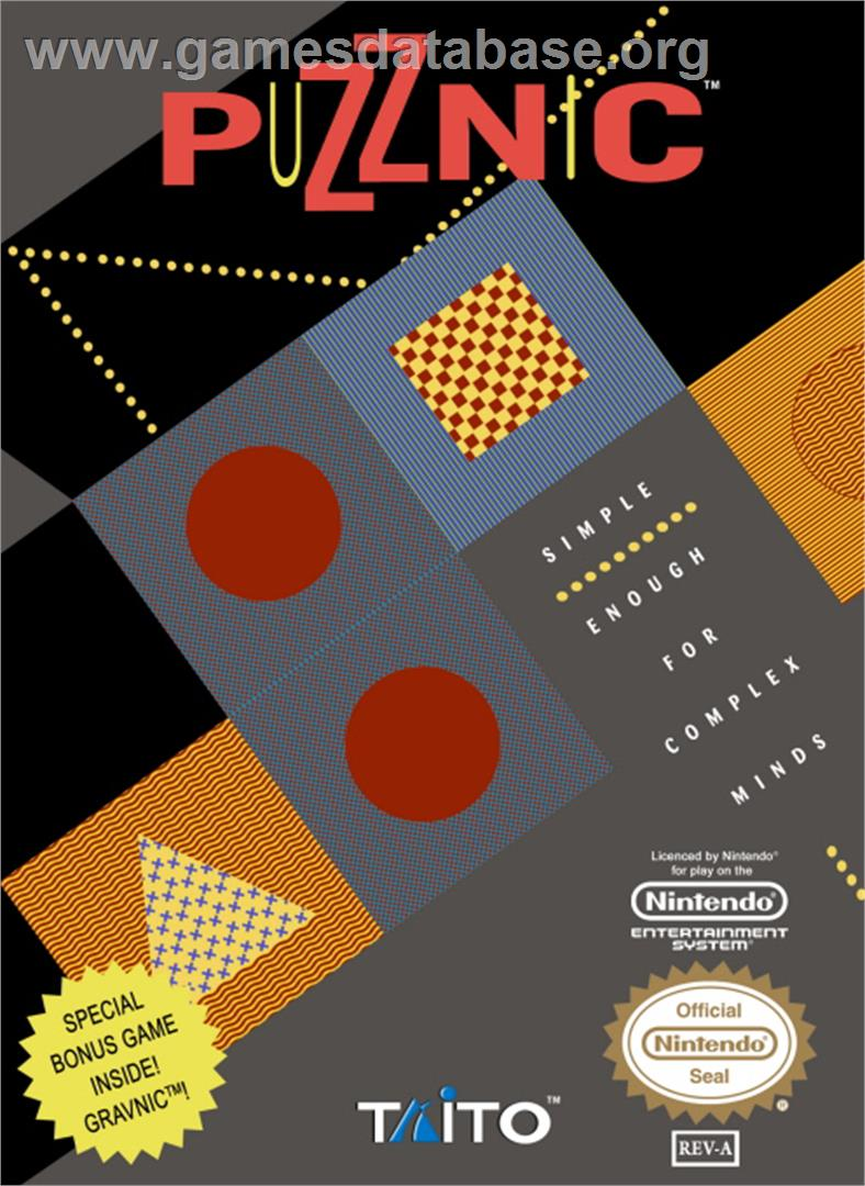 Box cover for Puzznic on the Nintendo NES.