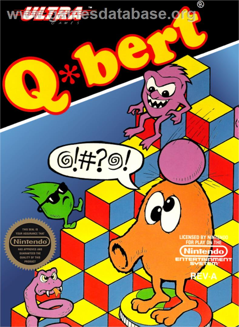 Q*bert - Nintendo NES - Artwork - Box